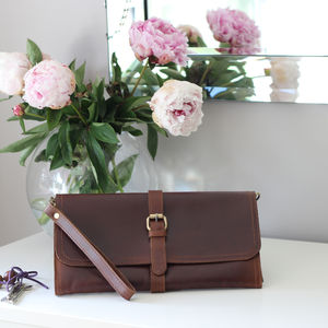 Robin Leather Clutch Bag With Buckle