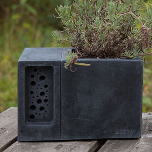 Charcoal Concrete Planter With Bee Hotel Beepot