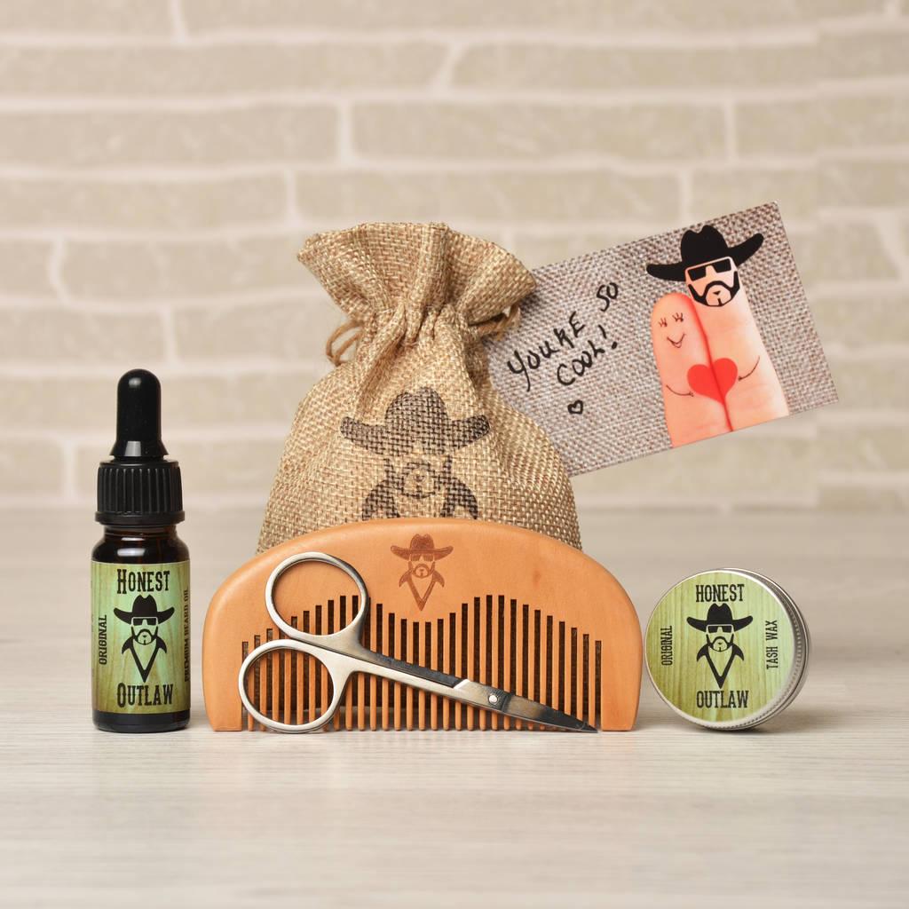 beard grooming gift kit by honest outlaw. Black Bedroom Furniture Sets. Home Design Ideas