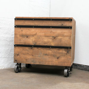 Mhairie Reclaimed Scaffolding Board Drawers With Glass - chests of drawers