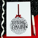 Personalised Auntie Christmas Bauble Card