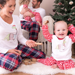 Personalised Christmas Dinosaur Family Pyjama Set - clothing