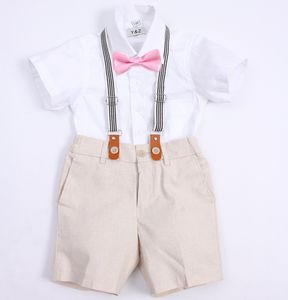 Boy's Christening Linen Blend 4pc Outfit Set With Brace - wedding and party outfits