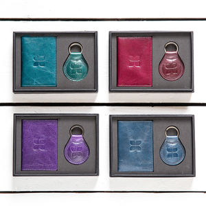 Classic Leather Cardholder And Key Ring Gift Set