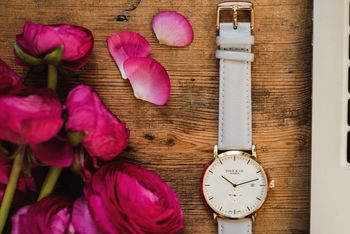 'Richmond' Cloudy Grey, White And Gold Watch
