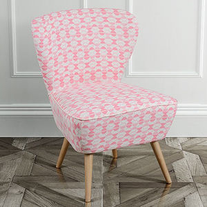 Retro 1950s Patterned Cocktail Chair - furniture