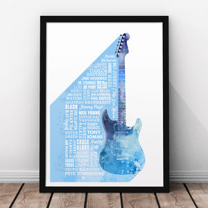Heroes Of Guitar Print - music