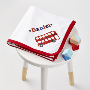 Boys Personalised Red Trim Baby Blanket