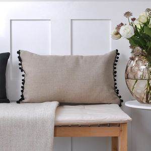 Natural Fawn Linen Pom Pom Cushion - bedroom