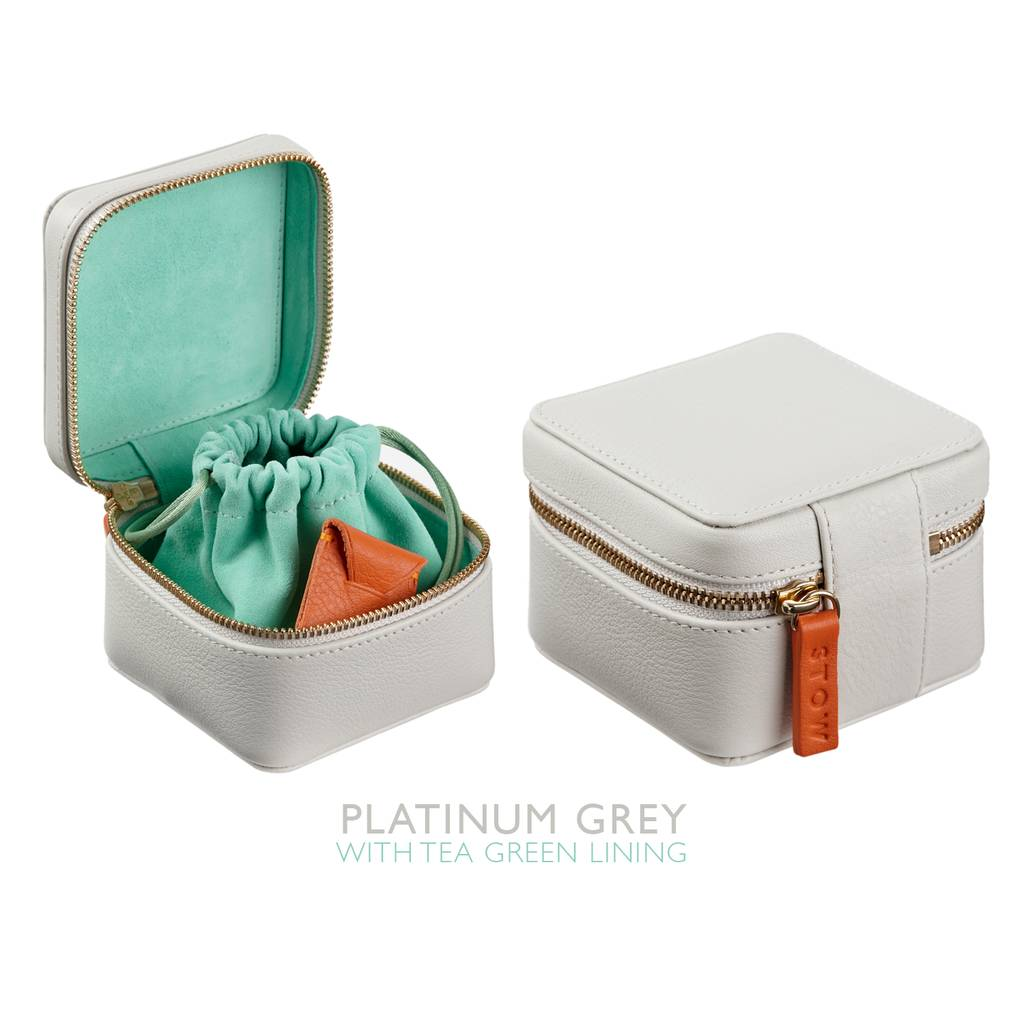 personalised luxury leather jewellery box for travel by stow