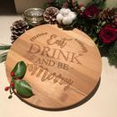 Eat, Drink And Be Merry Round Bamboo Board