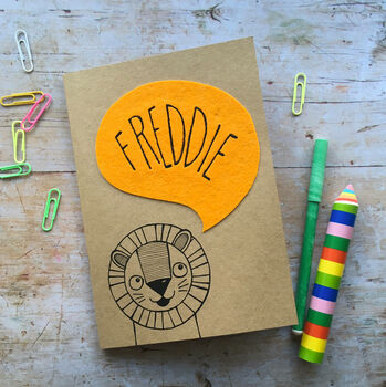 Personalised Happy Lion Childrens Notebook
