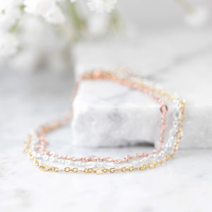Silver Rose Gold Ankle Chain - body jewellery