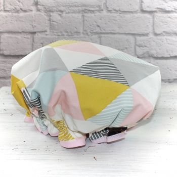 Geometric Print Shower Cap