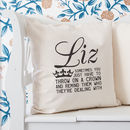 Personalised 'Throw On A Crown' Quote Cushion