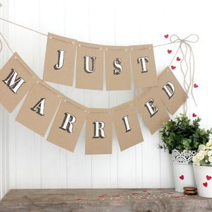 Just Married Handpainted Bunting, Wedding Bunting - room decorations