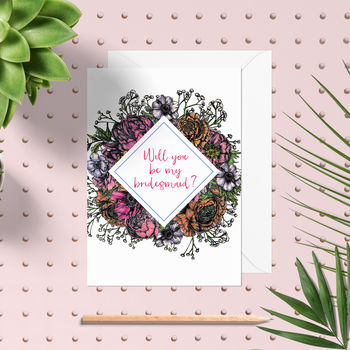 Meadow Floral Be My Bridesmaid Card