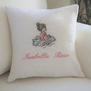 Personalised Cushion With Dancer Tying Shoes Motif - children's room