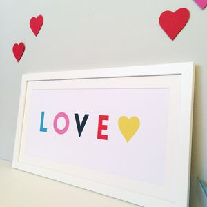 Bright Typography Valentines Love Print - valentine's gifts for him