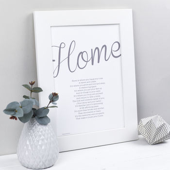 Personalised Home Print With Home Poem