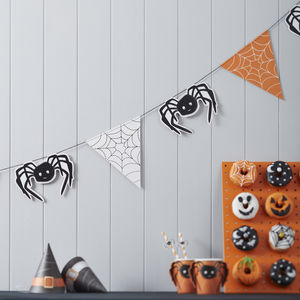 Spider And Web Halloween Bunting Decoration - party decorations