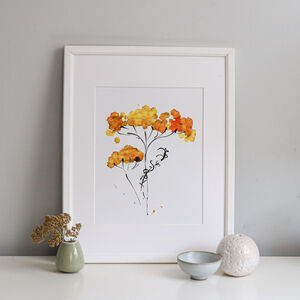 Golden Wild Flower Limited Edition A5 Art Print