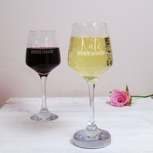 Bridesmaid Personalised Wine Glass