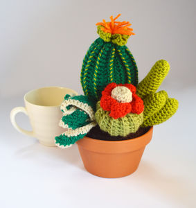 Crocheted Amigurumi Cactus Four In One Pot Wide Medium