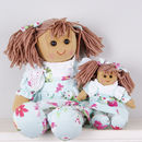 Set Of Two Sister Blue Floral Rag Dolls
