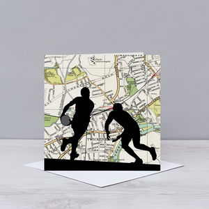 Rugby Card With Twickenham Map