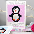 Personalised Arctic Penguin Birthday Card