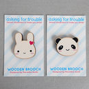 Kawaii Bunny And Panda Wooden Brooches