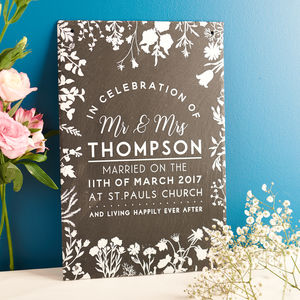 Personalised Wedding Details Slate Sign - outdoor wedding signs