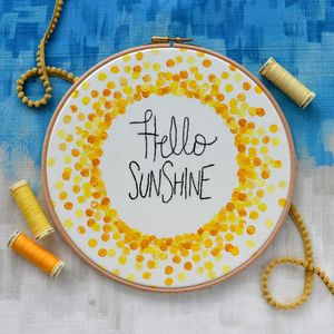 Hello Sunshine Hand Painted And Embroidered Hoop - mixed media & collage