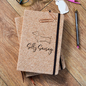 Personalised 'Silly Sausage' Cork Notebook