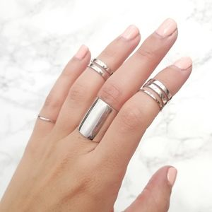 Silver Stacking Ring Set Of Five