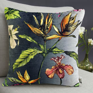 Tropical Hothouse Botanical Print Cushion - bedroom