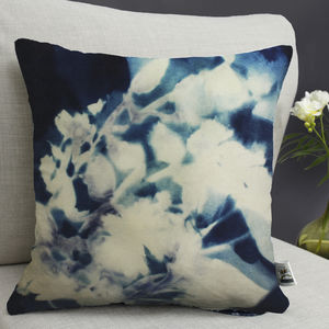 Floral Cyanotype Botanical Print Cushion