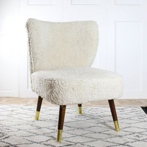 Off White Shaggy Wing Chair