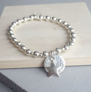 Sterling Silver Halo And Star Charm Bracelet - women's jewellery sale