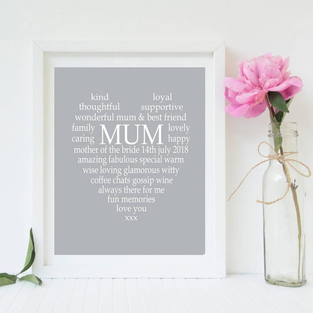 Mother Of The Bride Groom Personalised Print