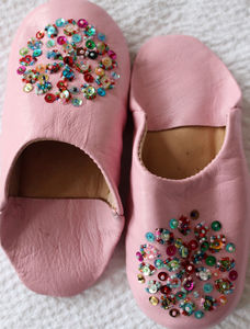 Girl's Pink Leather Slippers With Sequins - clothing