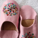 Girl's Pink Leather Slippers With Sequins