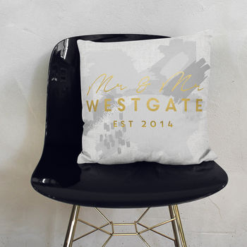 Personalised Grey Mr And Mrs Paint Stroke Cushion