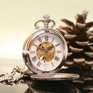 Personalised Mechanical Pocket Watch Twin Opening - mens
