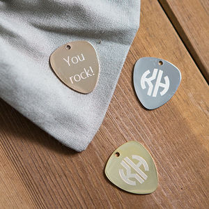 Engraved Monogram Guitar Plectrum - gifts for him