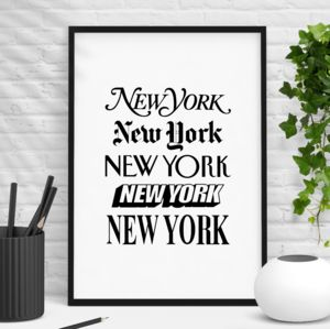 'New York' Wall Art Typography Print - typography