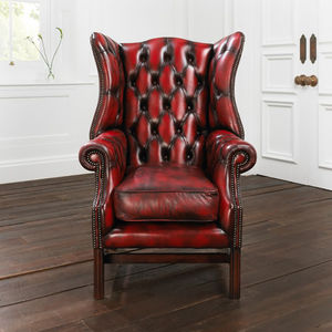 Classic Red Chesterfield Armchair - kitchen