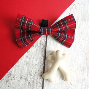 Tartan Slide On Dog Collar Bow Tie