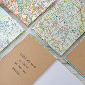 Personalised World Map Travel Journal Notebook A5 - personalised